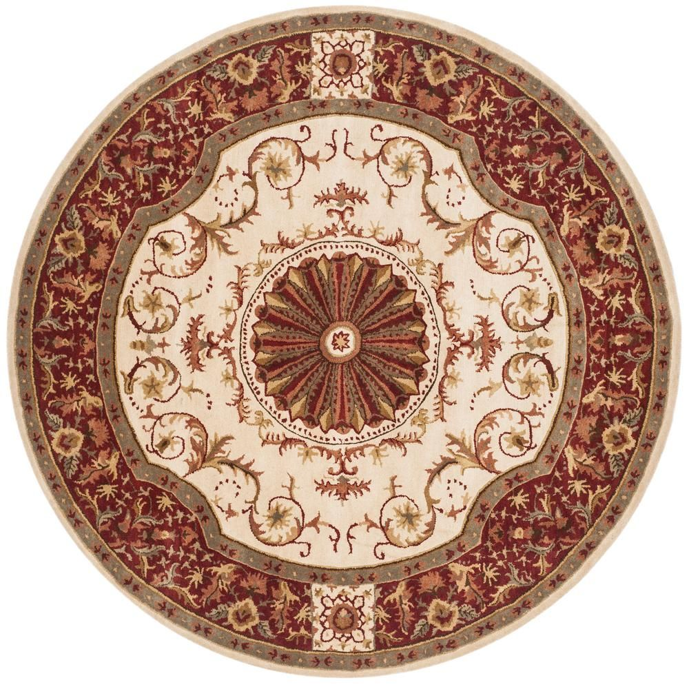 Safavieh Empire Ivory Red 8 Ft X 8 Ft Round Area Rug Em459a 8r