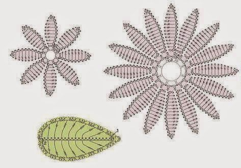Double flower and leaf crochet diagram leaves and crochet double flower and leaf crochet crochet kingdom ccuart Images