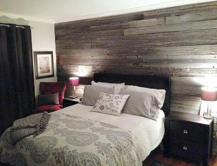 mur avec planches de grange headboard pinterest bedrooms master bedroom and woods. Black Bedroom Furniture Sets. Home Design Ideas
