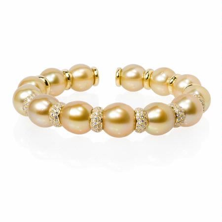 Diamond and Pearl 18k Yellow Gold Bangle Bracelet