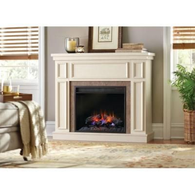 Home Decorators Collection Granville 43 in. Convertible Electric Fireplace  in Antique White with Faux Stone - Home Decorators Collection Granville 43 In. Convertible Media