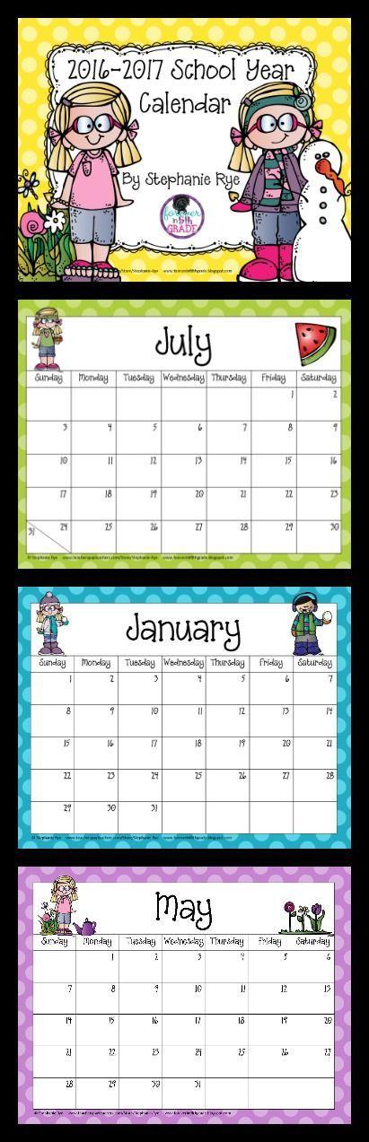 Grab this 2016-2017 school year calendar for free - calendar templates for kindergarten
