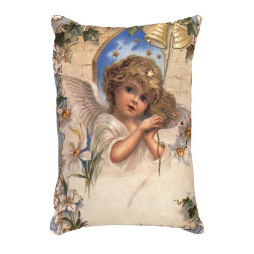 Vintage Christmas Victorian Angel With Gold Bells Decorative Pillow Gorgeous Victorian Pillows Decorative