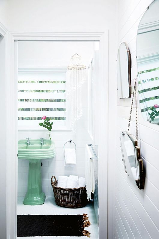 White Bathroom With Green Pedestal Sink And Vintage Mirrors / Sfgirlbybay