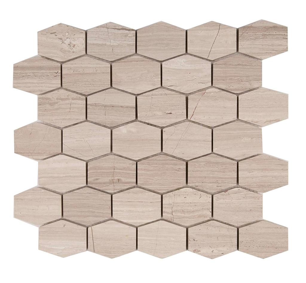Silver Oak Marble Elongated 2 5 Hexagons Mosaic Tile Honed In 2020 Marble Mosaic Tiles Hexagon Mosaic Tile Marble Mosaic