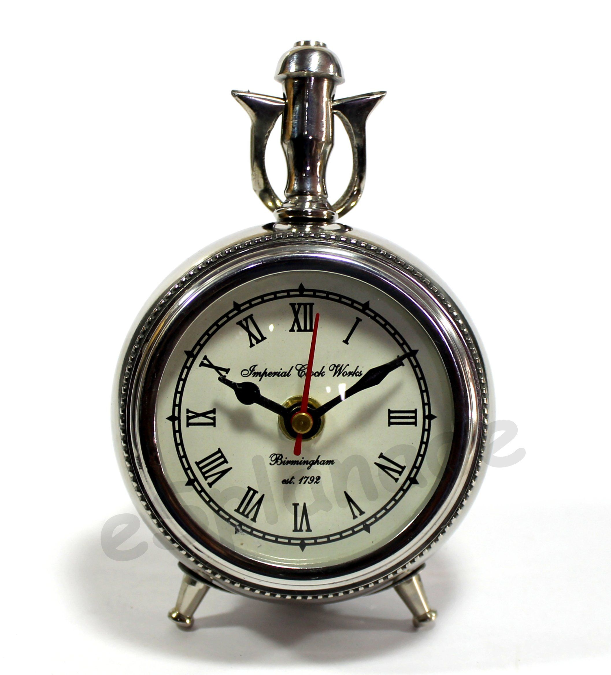 European Retro Style Desk Clocks Antique Silent Table Clock for Living Room Bedroom Office Home Decor 1#