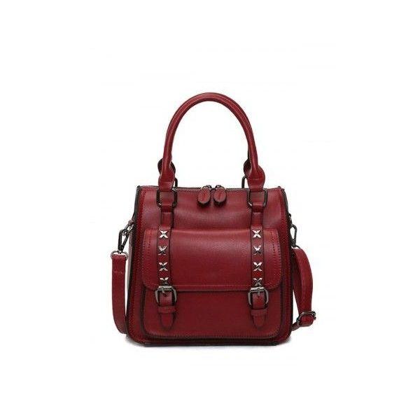 PU Leather Criss-Cross Double Buckles Handbag (61 BAM) ❤ liked on Polyvore f5f24ffe9f90e