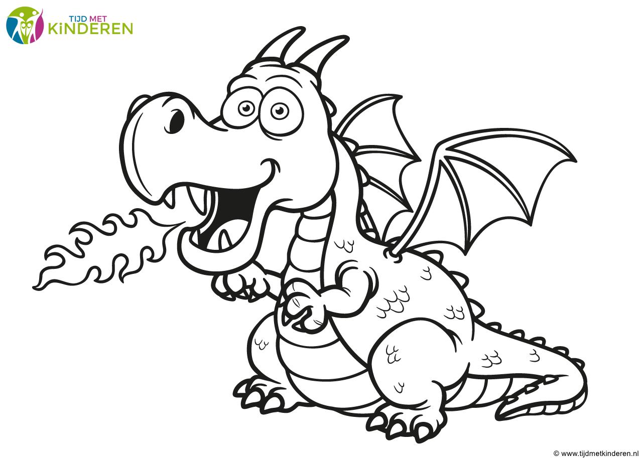 afbeeldingsresultaat voor draak tekening kleurplaten