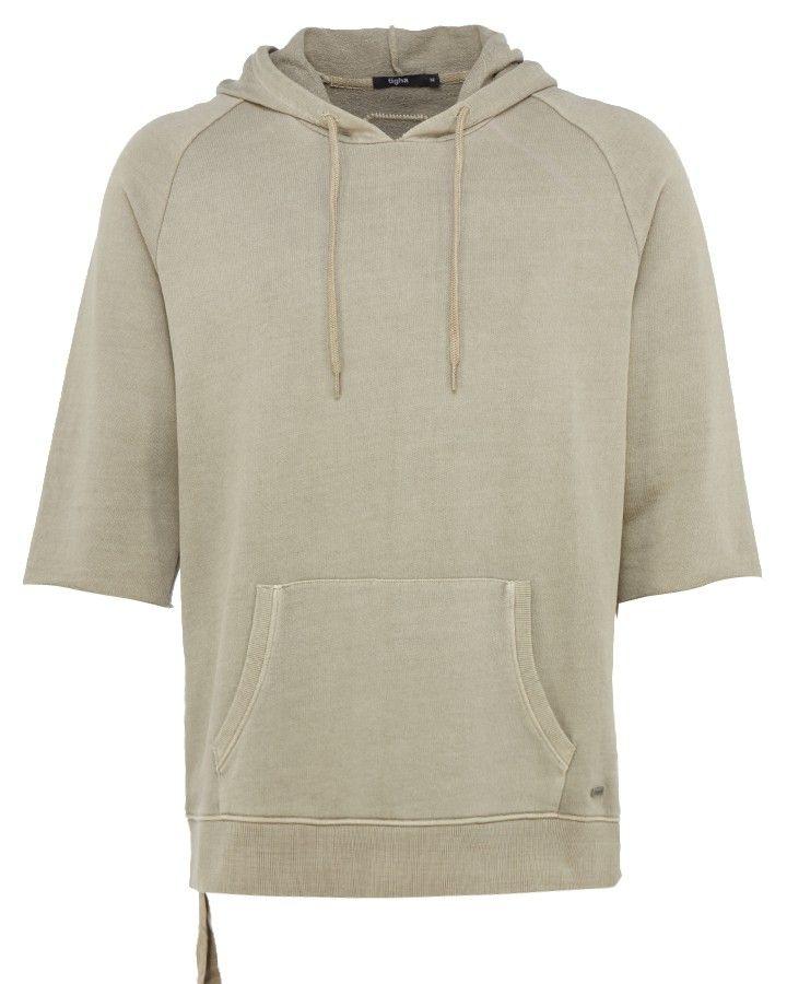 Tigha x Stierblut Kapuzen-Pullover in Beige-Grau