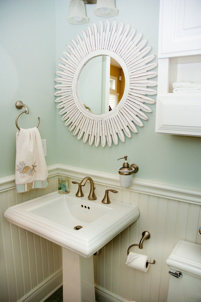 Awesome Bright Kohler Pedestal Sink Look New York Beach Style Powder Room  Remodeling Ideas With Bathroom Bathroom