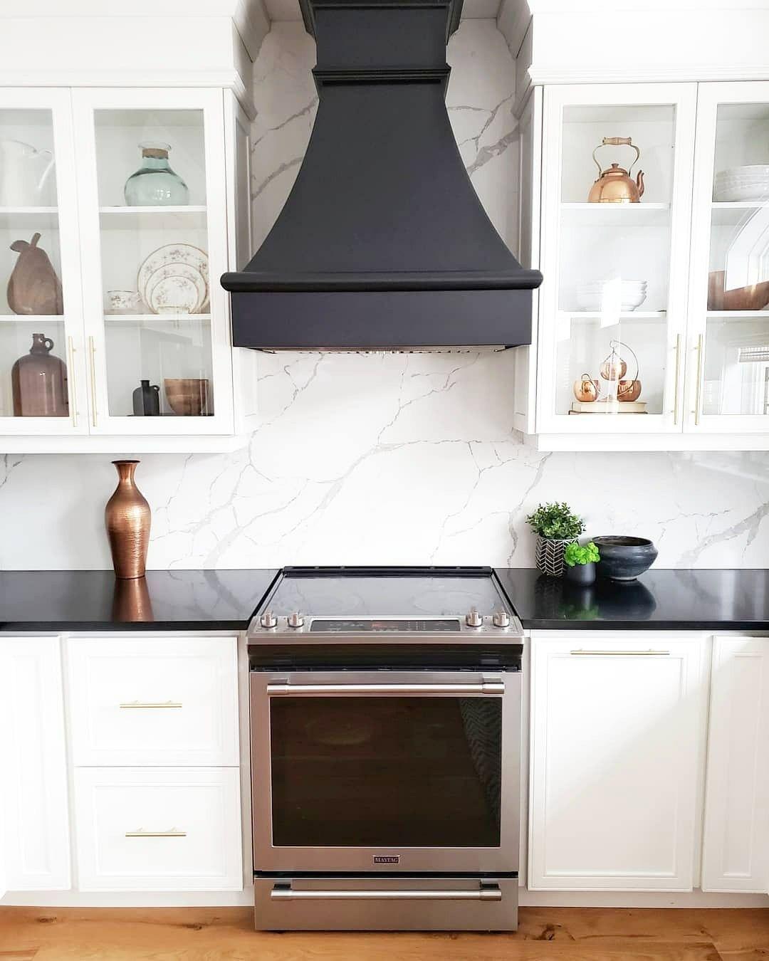 Black Range Hood In 2020 Small White Kitchens Kitchen Hood Design Black White Kitchen