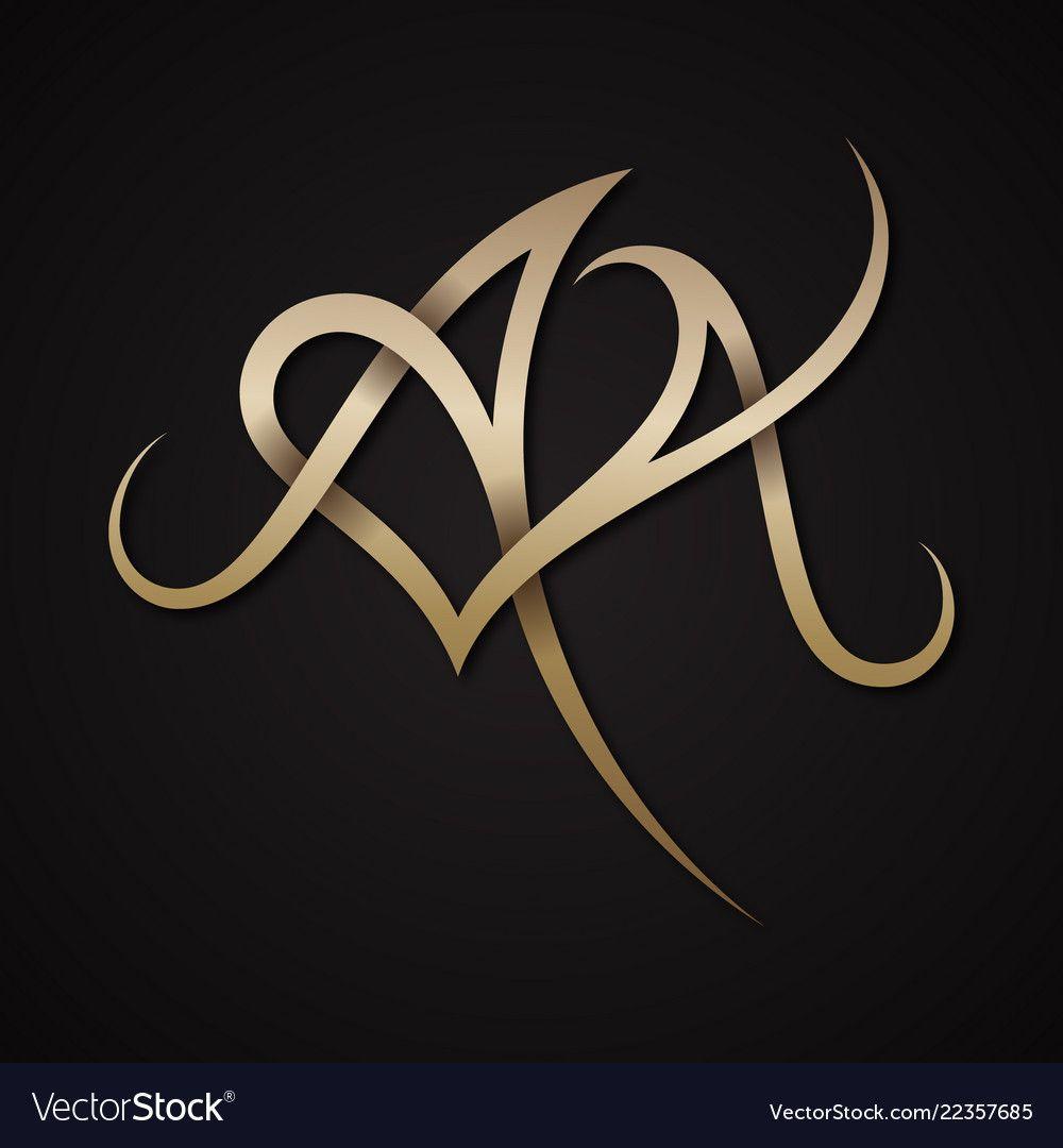 Creative Luxury Letter Aa Shaped Love Design Vector Symbol Luxury