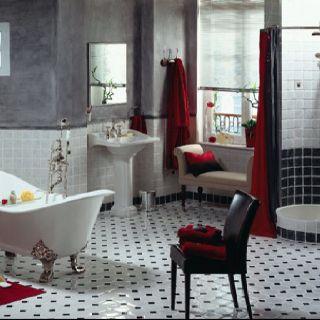 carrelage duchesse gr s maill chez herbeau octogone blanc avec cabochon noir salles de. Black Bedroom Furniture Sets. Home Design Ideas