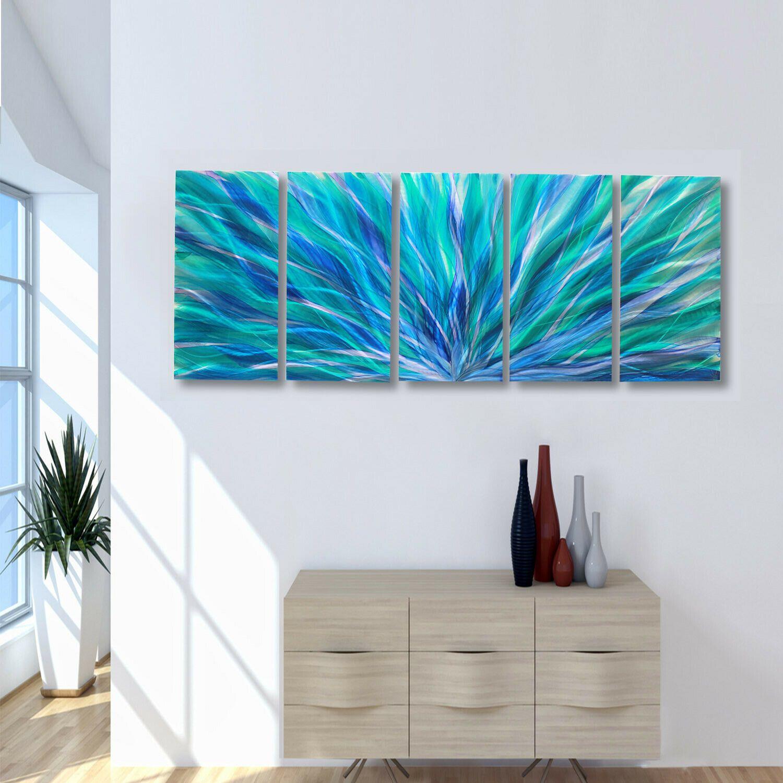 Massive 84 36 Metal Wall Art Abstract Aqua Blue Painting Original Jon Allen Blue Painting Navy Blue Wall Art Metal Wall Art Panels