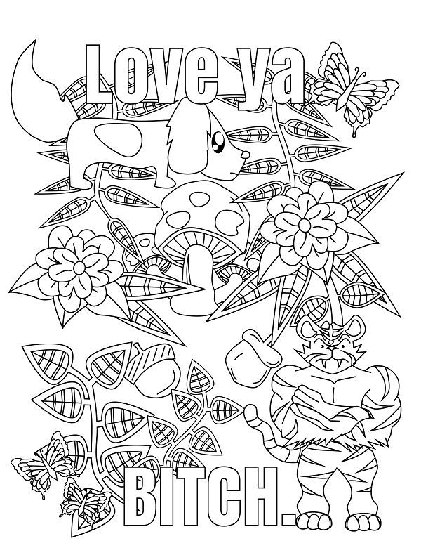 Screw you Asshole - Adult Coloring page - swear. 14 FREE printable ...