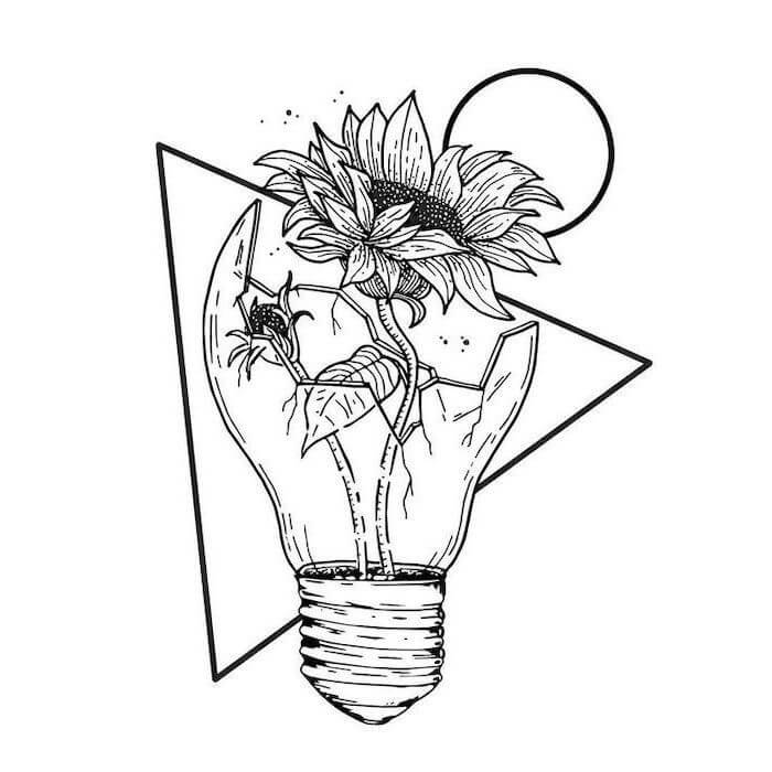 Home Blend Of Bites Sunflower Drawing Space Drawings Flower Drawing