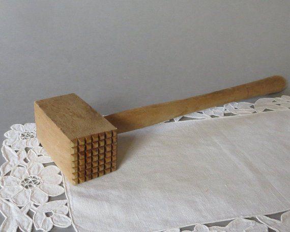 Vintage Meat Mallet Wooden Hammer Wood Meat Hammer Wooden Mallet