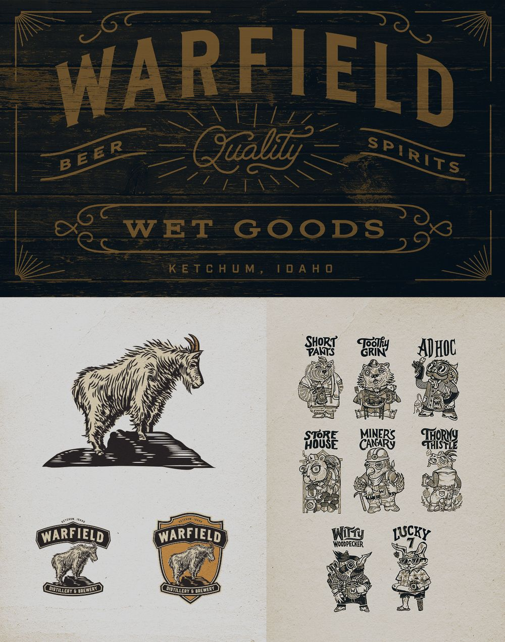 Tucked in the mountains of Idaho is Sun Valley, a small ski town that  offers year-round activities and endless natural beauty. Conrad Garner  developed the branding and packaging for Warfield Distillery & Brewery, a  place that serves fresh, local beer and artisanal spirits in addition to  seasonal pub fare.