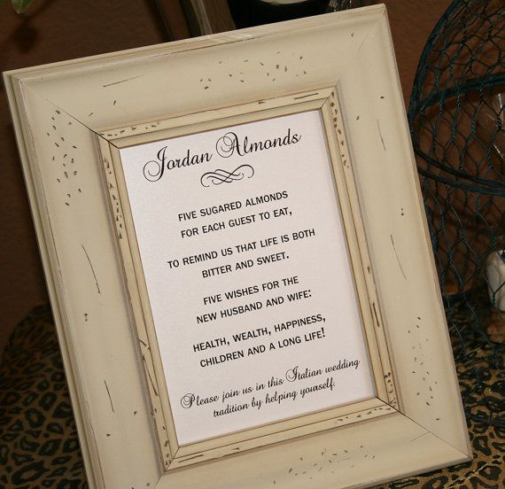 Jordon Almonds Jordan Almond Favor Sign Poem Five Wishes Italian Wedding Pick A Size No Frame