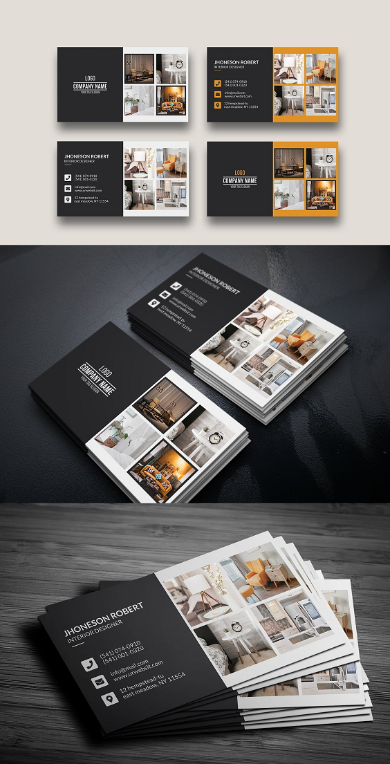 Interior Design Business Card A Trendy Clean And Modern Business Card Interior Designer Business Card Design Business Card Ideas Graphic Design Business Card