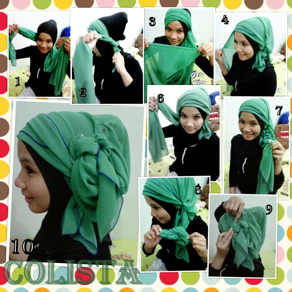 Tutorial Hijab Paris Turban Green By Colistajpg 10241024