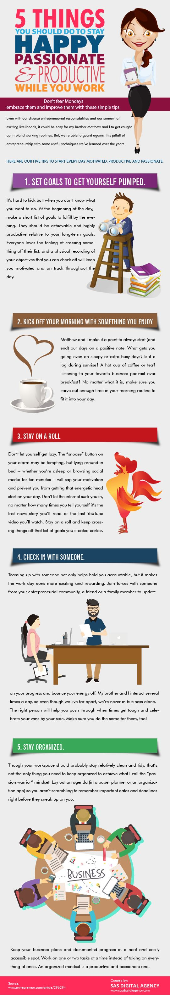 5 Things You Should Do To Stay Happy And Productive While You Work Infographic - https://elearninginfographics.com/stay-happy-and-productive-while-you-work-infographic-5-things/