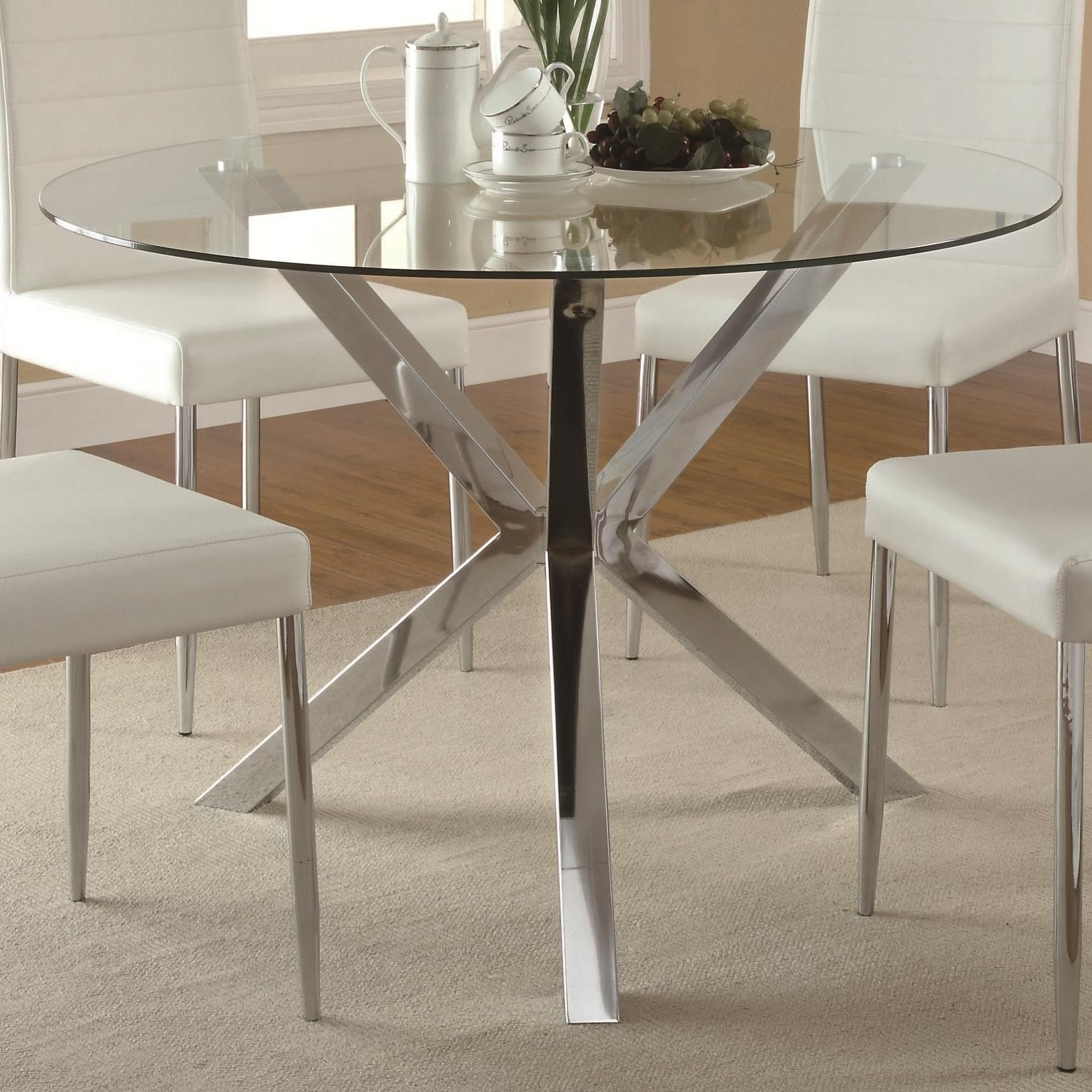 Vance Glass-Top Dining Table With Unique Chrome Base