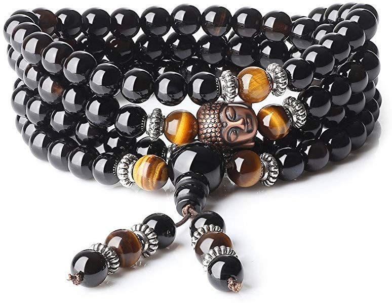 f9ad887df178 COAI® Pulsera Collar de 108 Cuentas Mala Piedra Natural Ónice y Ojo de Tigre  Budista