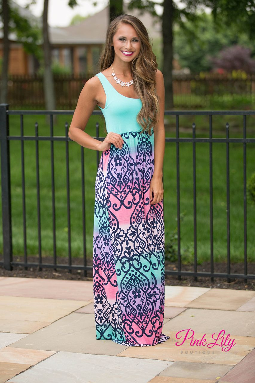 This gorgeous maxi dress will bring the colors of a romantic
