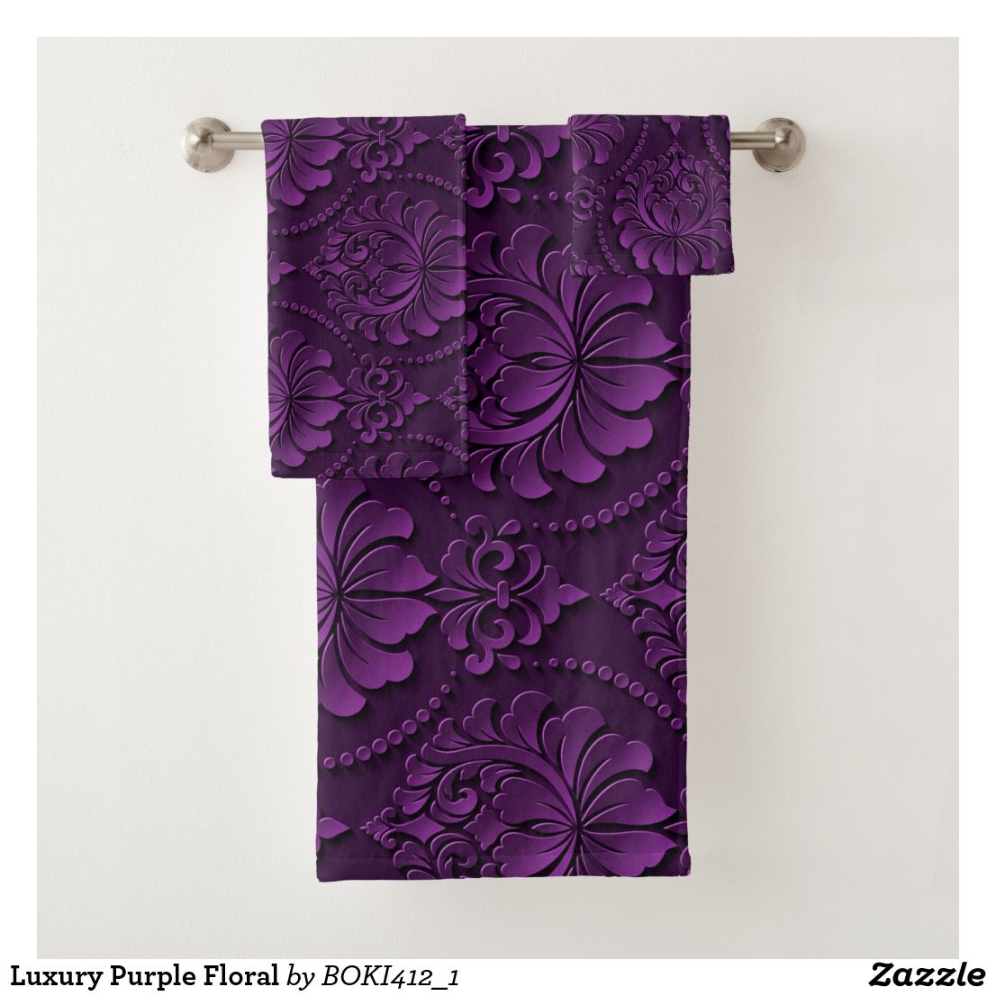 Luxury Purple Floral Bath Towel Set Zazzle Com Floral Bath Towels Bath Towel Sets Towel Set