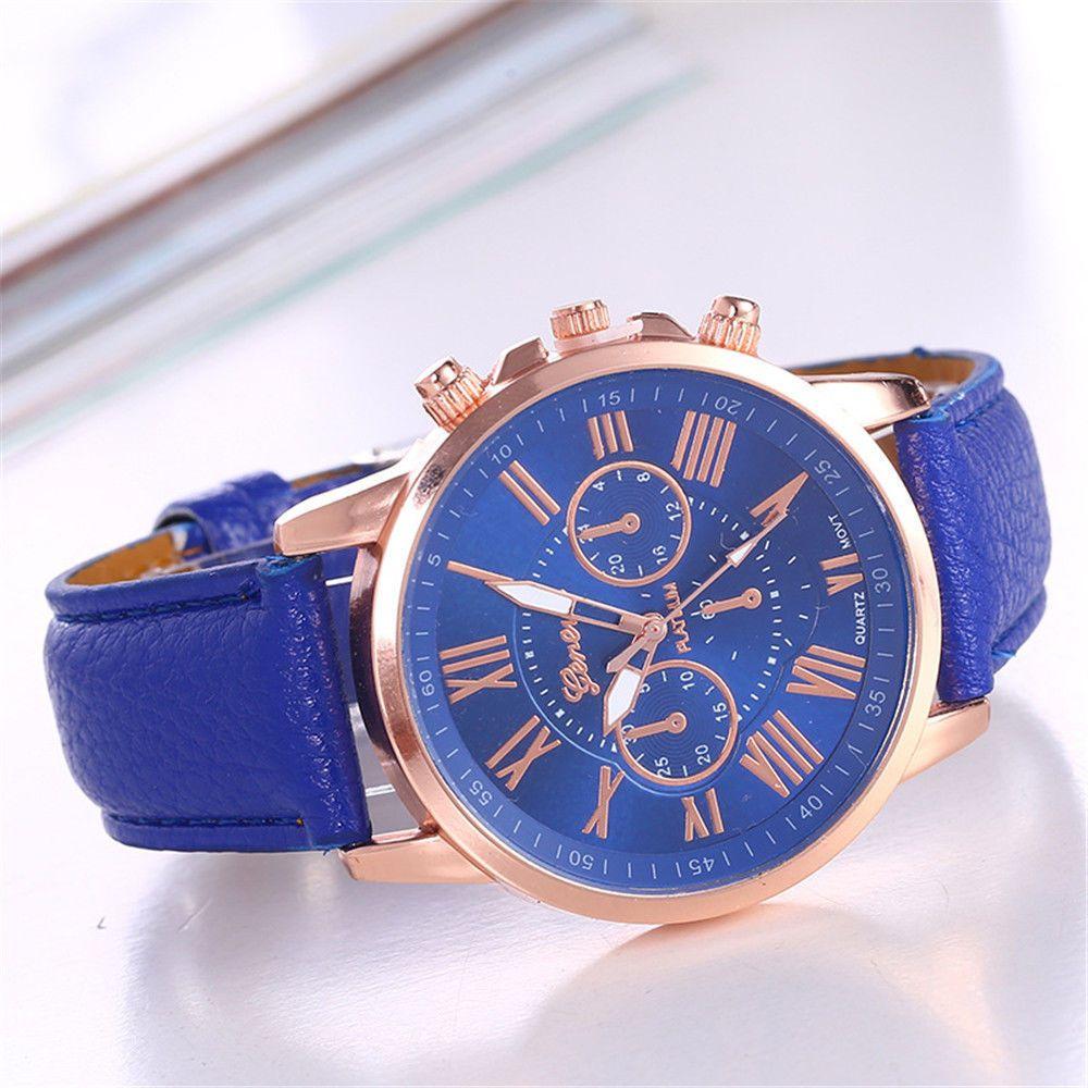 4b62c8867d7c Fashion Geneva Women Leather Band Stainless Steel Quartz Analog Wrist Watch
