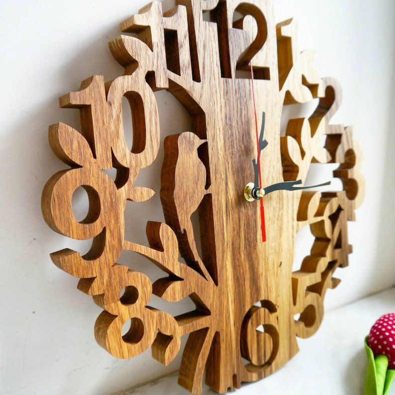 Wall Wooden Clock, Handmade Clock, Gift for him, her, Scroll Saw, Eco Clock, gift for husband, birthday gift, new home gift, new home gift