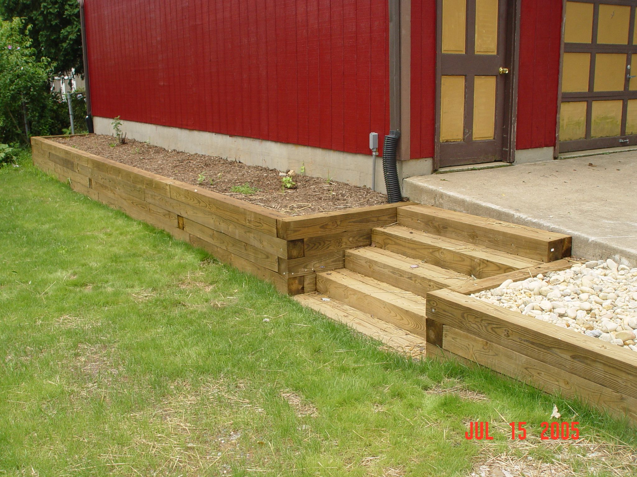 wooden timber retaining wall