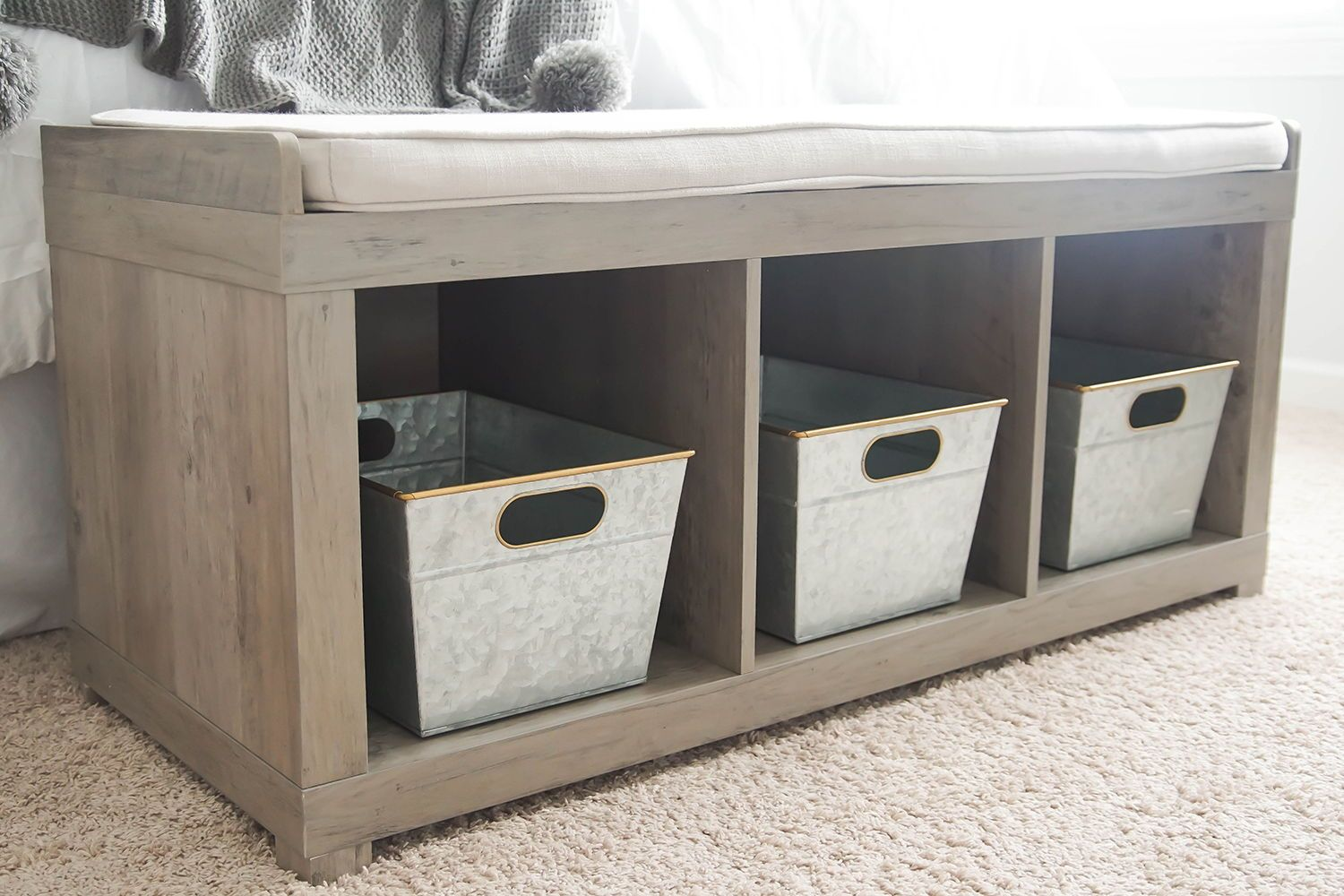 Better Homes And Gardens 3 Cube Organizer Storage Bench Rustic Gray Walmart Com In 2020 Cube Organizer Storage Bench Toy Room Organization