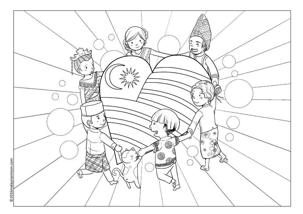PATRIOTIC COLOURING PAGE MALAYSIA Coloring pages