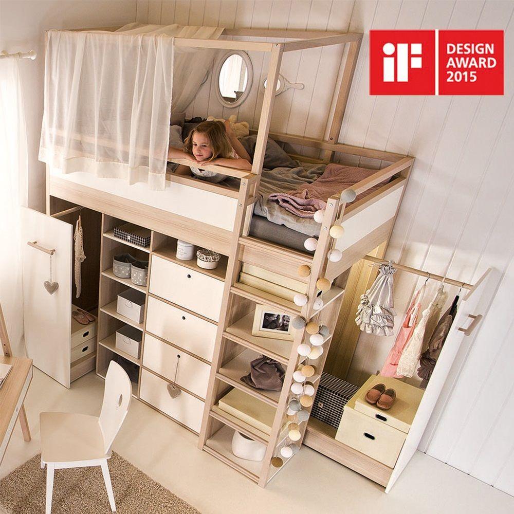 Vox Spot High Sleeper Storage Kids Bed in Acacia & White