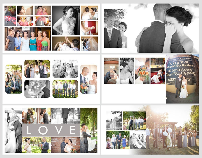 Square Album Template For Photoshop 10 Spreads 20 Pages Etsy Wedding Album Templates Book Design Layout Book Design