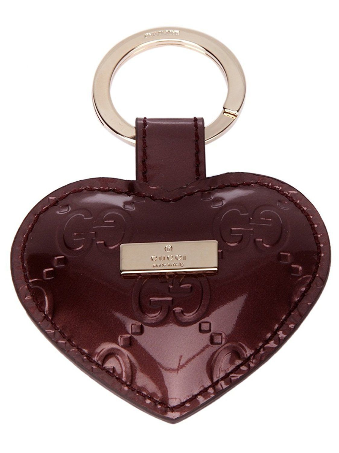 e65cdb2e5f2 Gucci Microguccissima Purple Patent Leather Heart Key Chain Ring