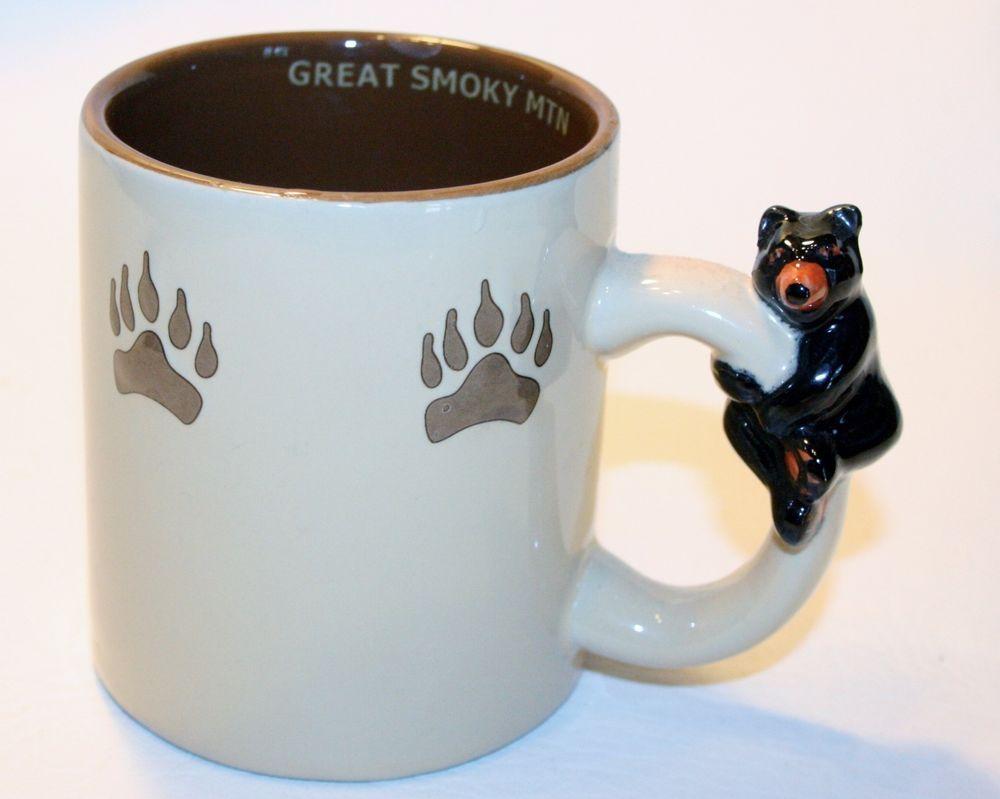 Great Smoky Mountains 3d Bear On Handle Coffee Mug Cup Log
