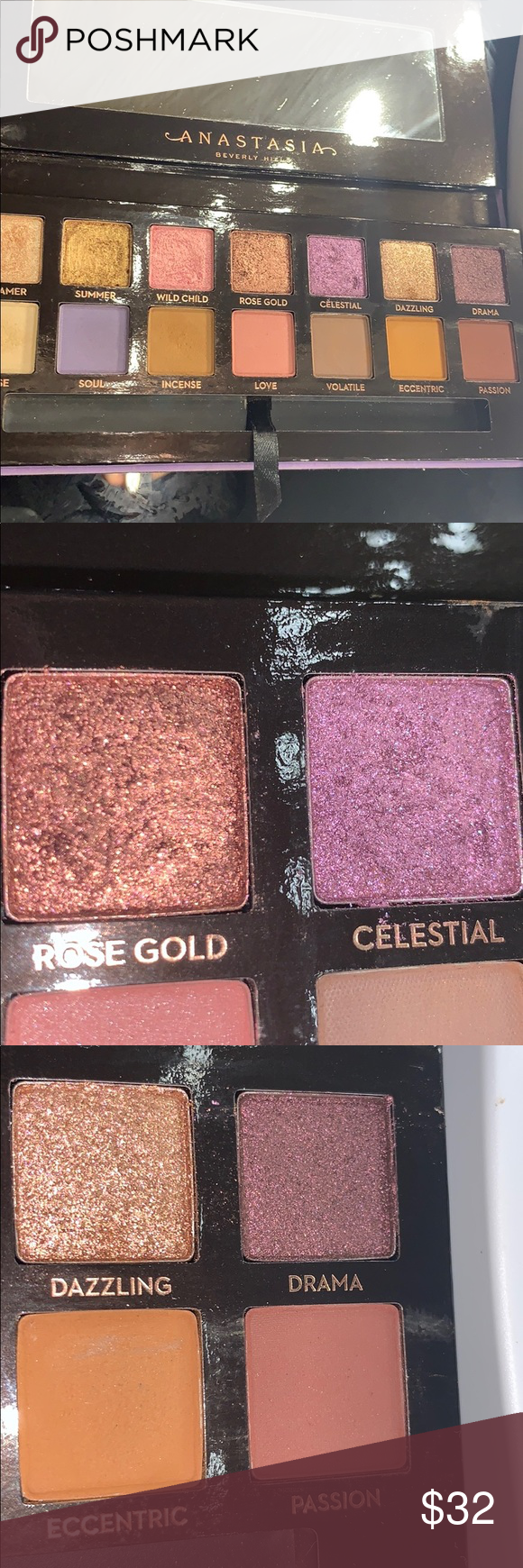 Anastasia Lip Pallete 4 colors were swatched once