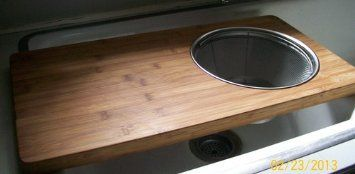 Island Bamboo 23 By 12 Inch Over The Sink Cutting Board With Colander:small  Kitchen Rx