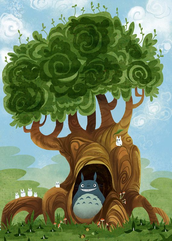 nearby a totoro homage poster print 12x18