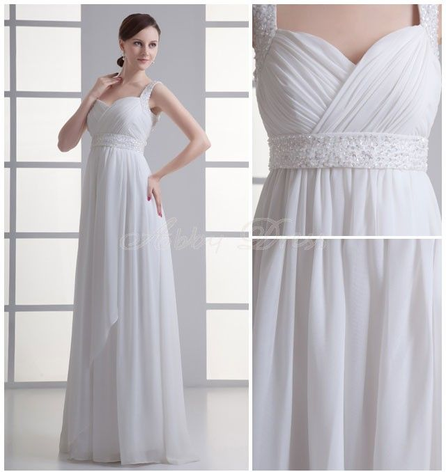 Chiffon Floor-length Sweetheart White Modern, Romantic, Terse Wedding Dresses