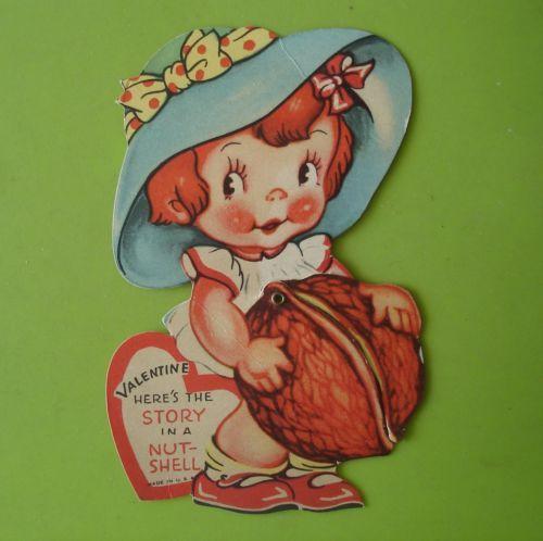 Vtg-Mechanical-Valentine-Card-Cute-Girl-Opens-Walnut-Shell-W-Boy-Inside-Die-Cut