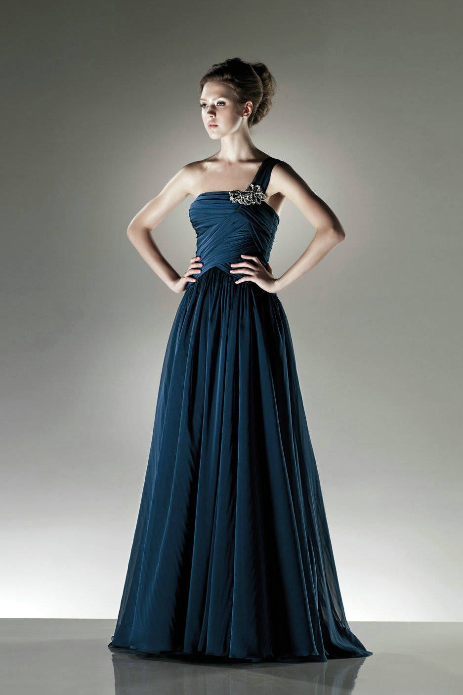 Dress for wedding engagement party  A Line One Shoulder Beaded Navy Green Evening Dress  Evening