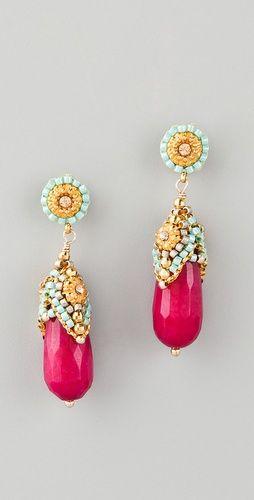 Miguel Ases Pink Jade & Crystal Drop Earrings--- STUNNING!