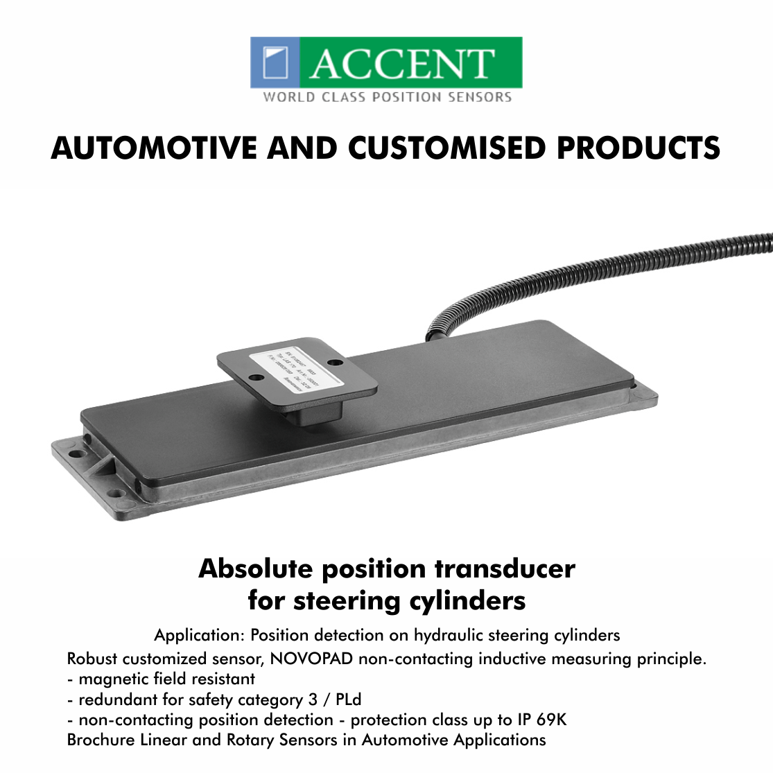Absolute Position Transducer For Steering Cylinders Application Position Detection On Hydraulic Steering Cylinders Robust Hydraulic Steering Transducer Sensor