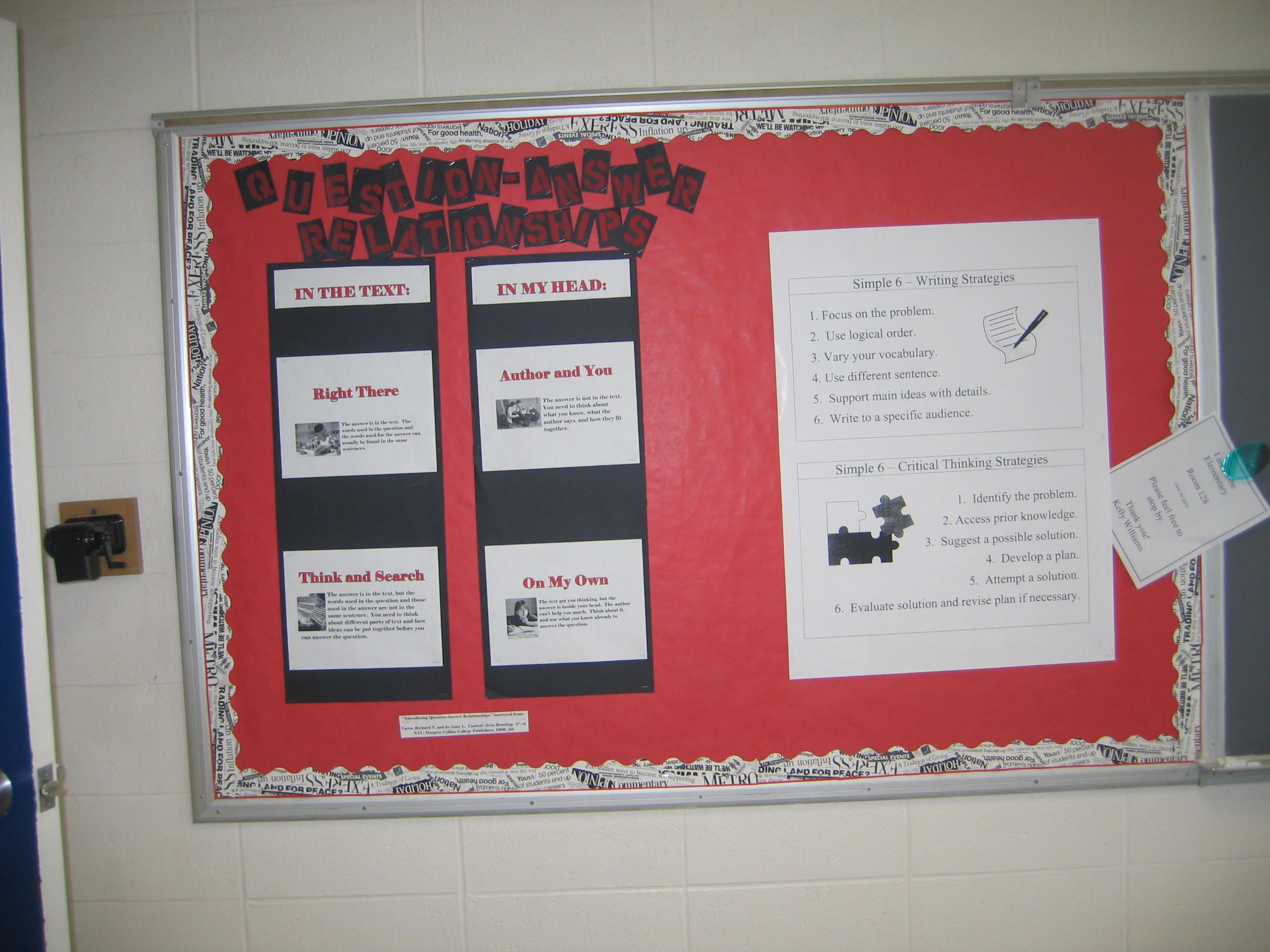 Question-answer Relationship Bulletin Board Elementary