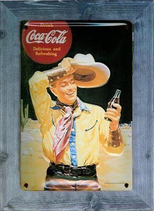 Placa Vintage Coca Cola Cow Boy. Pino azul