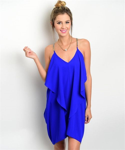 8bd18e1493d Short royal bright blue dress. Ruffle front detail with gold chain detail  on the straps